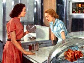 Lachende Hausfrauen