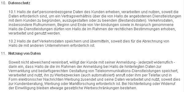 Datenschutzbestimmungen von hallo.de