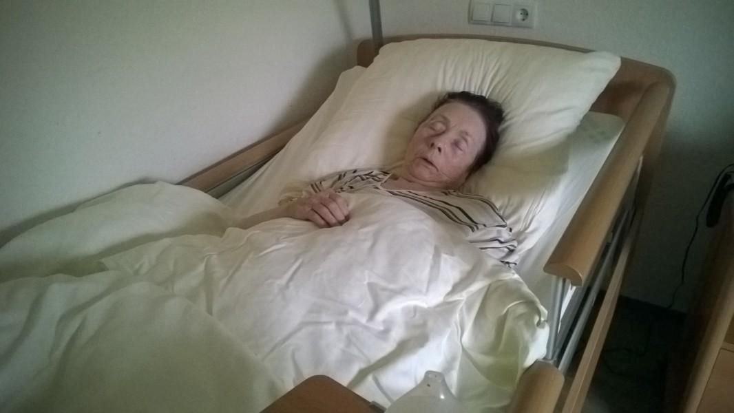 Mama liegt in ihrem Bettchen. Ob sie noch etwas mitbekommt?